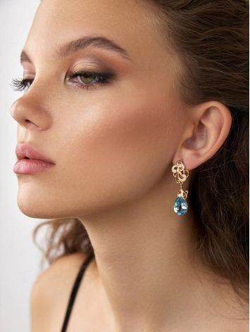 Classy Blue Topaz Drop Earrings, image , picture 3