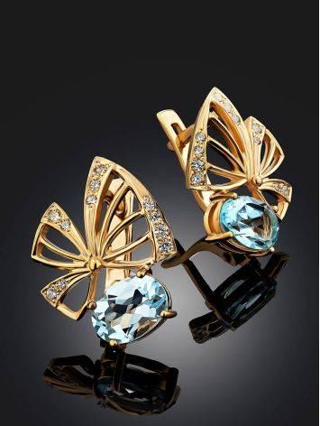 Ultra Feminine Gilded Silver Topaz Earrings, image , picture 2