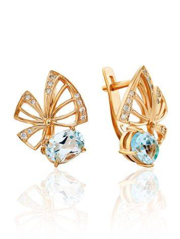 Ultra Feminine Gilded Silver Topaz Earrings, image