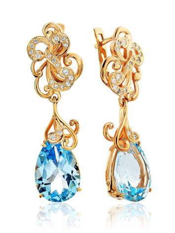 Classy Blue Topaz Drop Earrings, image