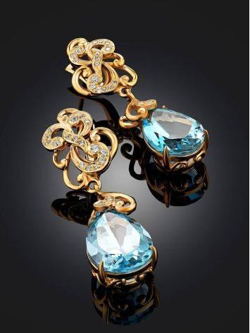 Classy Blue Topaz Drop Earrings, image , picture 2