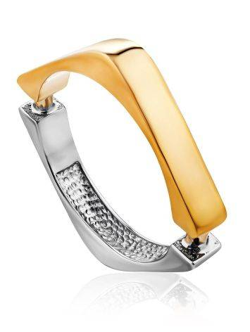 Trendy Bicolor Silver Ring, Ring Size: 12 / 21.5, image