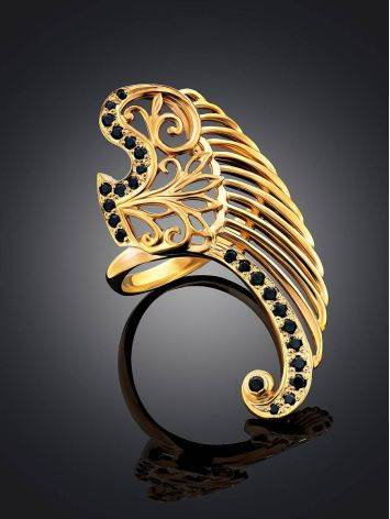 Wing Motif Gilded Silver Ring, Ring Size: 8 / 18, image , picture 2