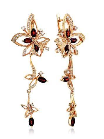 Charming Floral Design Gilded Silver Garnet Earrings, image