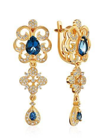 Arabesque Design Gilded Silver Topaz Dangles, image