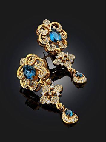 Arabesque Design Gilded Silver Topaz Dangles, image , picture 2