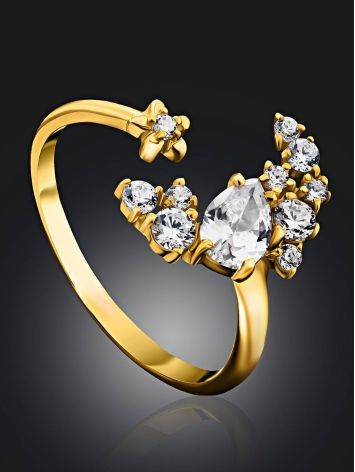 Stylish Gilded Silver Adjustable Ring With Crystal Half Moon, Ring Size: 6.5 / 17, image , picture 2