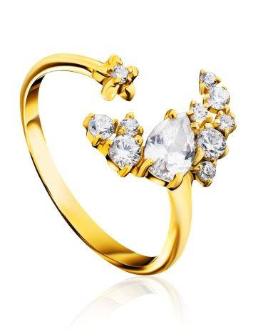 Stylish Gilded Silver Adjustable Ring With Crystal Half Moon, Ring Size: 6.5 / 17, image