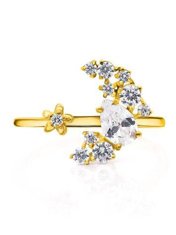 Stylish Gilded Silver Adjustable Ring With Crystal Half Moon, Ring Size: 6.5 / 17, image , picture 4