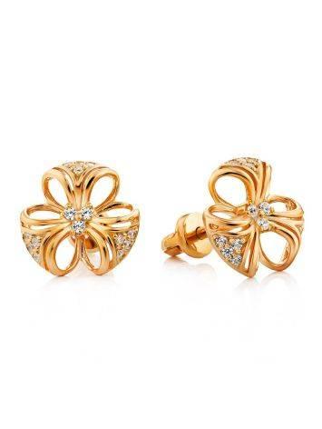 Gilded Silver Crystal Stud Earrings, image