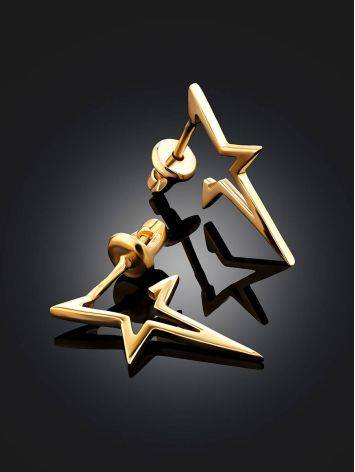 Trendy Gilded Silver Star Shaped Stud Earrings, image , picture 2
