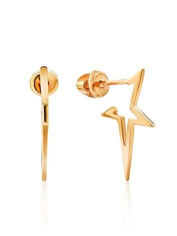 Trendy Gilded Silver Star Shaped Stud Earrings, image