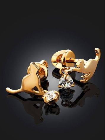 Cute Gilded Silver Cat Shaped Studs, image , picture 2