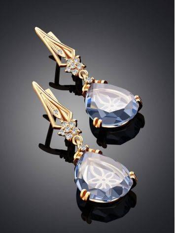 Luminous Blue Quartz Drop Earrings, image , picture 2