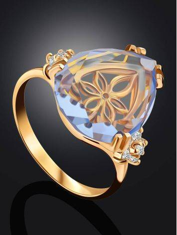 Gilded Silver Blue Quartz Ring, Ring Size: 8 / 18, image , picture 2
