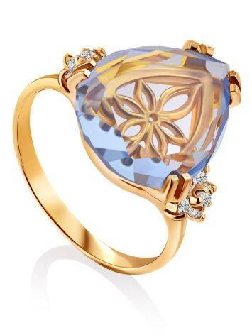 Gilded Silver Blue Quartz Ring, Ring Size: 8 / 18, image