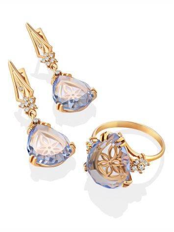 Luminous Blue Quartz Drop Earrings, image , picture 4