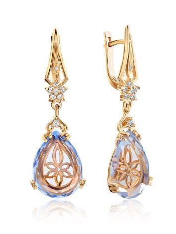 Luminous Blue Quartz Drop Earrings, image