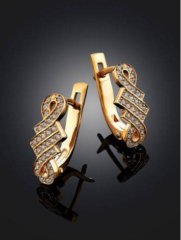 Chic Gilded Silver Crystal Earrings, image , picture 2