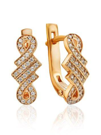 Chic Gilded Silver Crystal Earrings, image