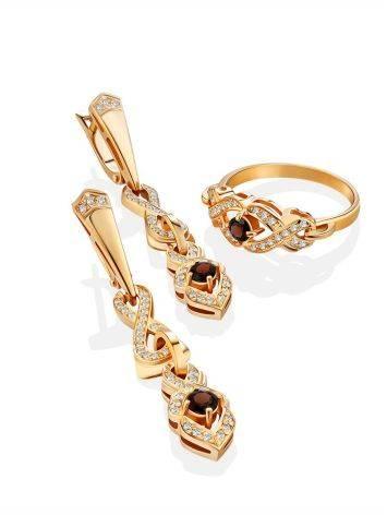 Refined Gilded Silver Garnet Dangle Earrings, image , picture 3
