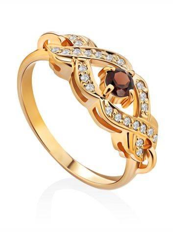 Elegant Gilded Silver Garnet Ring, Ring Size: 7 / 17.5, image