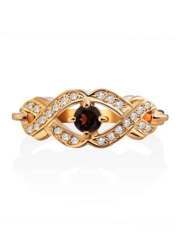 Elegant Gilded Silver Garnet Ring, Ring Size: 7 / 17.5, image , picture 3