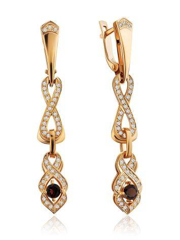 Refined Gilded Silver Garnet Dangle Earrings, image