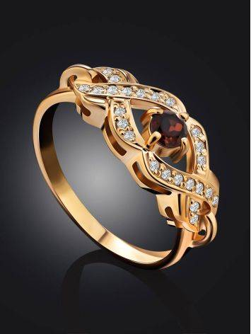Elegant Gilded Silver Garnet Ring, Ring Size: 7 / 17.5, image , picture 2