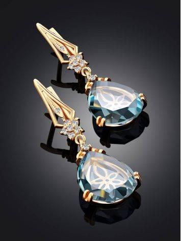 Gilded Silver Blue Quartz Drop Earrings, image , picture 2
