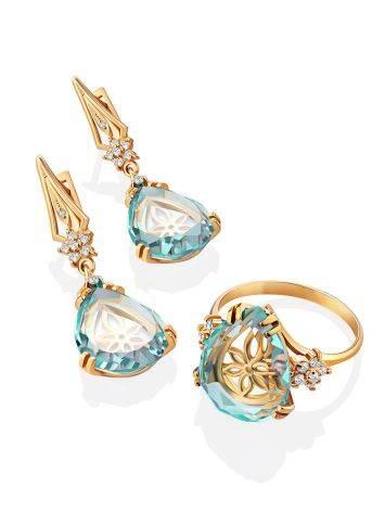 Gilded Silver Blue Quartz Drop Earrings, image , picture 4