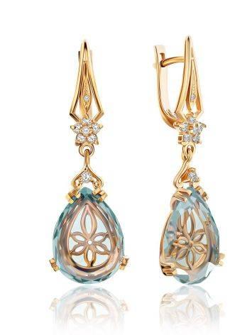 Gilded Silver Blue Quartz Drop Earrings, image