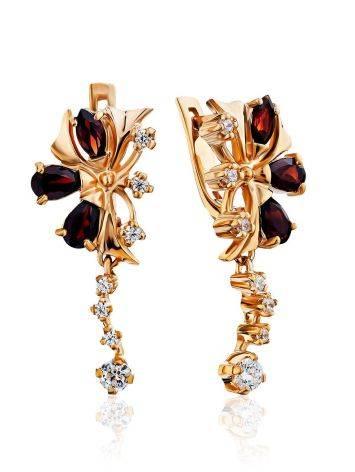 Bright Gilded Silver Garnet Earrings, image