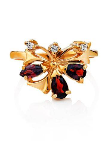 Refined Gilded Silver Garnet Ring, Ring Size: 6.5 / 17, image , picture 4