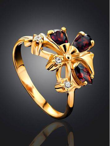 Refined Gilded Silver Garnet Ring, Ring Size: 6.5 / 17, image , picture 2
