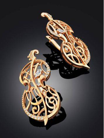 Fabulous Cello Motif Gilded Silver Earrings, image , picture 2