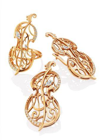 Fabulous Cello Motif Gilded Silver Earrings, image , picture 4