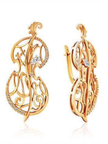Fabulous Cello Motif Gilded Silver Earrings, image