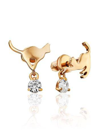 Cute Gilded Silver Cat Shaped Studs, image