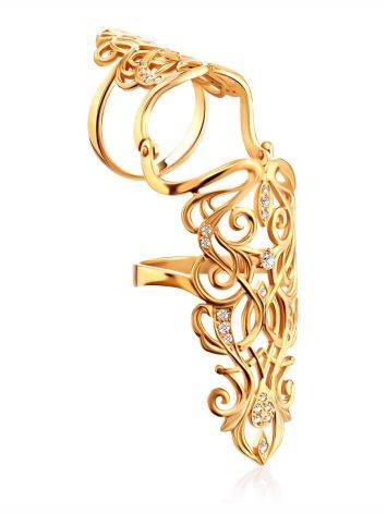 Baroque Style Gilded Silver Articulated Ring, Ring Size: 8 / 18, image