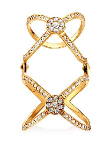 Criss Cross Design Gilded Silver Crystal Ring, Ring Size: 7 / 17.5, image , picture 4