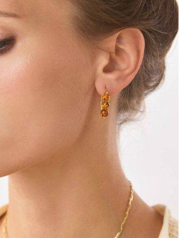 Threader Style Gilded Silver Amber Earrings The Palazzo, image , picture 3