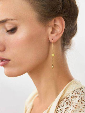 Gilded Silver Chain Dangle Earrings With Natural Amber The Palazzo, image , picture 3