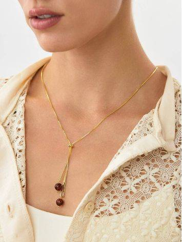 Gilded Silver Lariat Necklace With Amber Dangles The Palazzo, image , picture 5