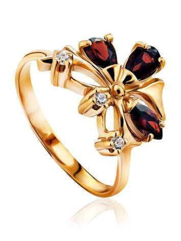 Refined Gilded Silver Garnet Ring, Ring Size: 6.5 / 17, image