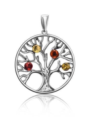 Round Silver Mix Color Amber Pendant The Tree Of Life, image