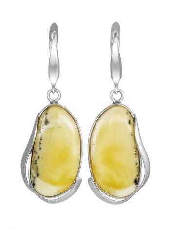 Wonderful Silver Amber Dangle Earrings The Lagoon, image