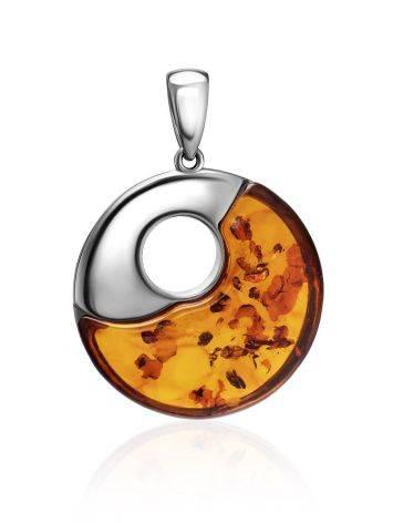 Stylish Silver Amber Round Pendant The Sunrise, image