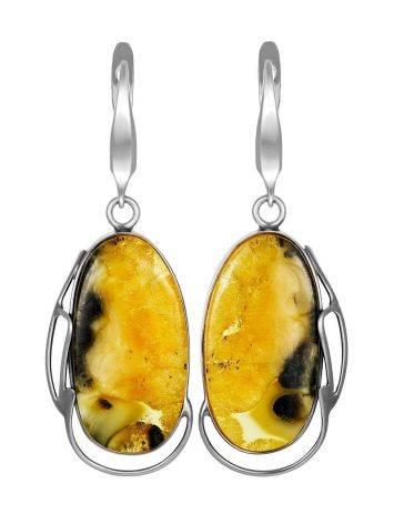 Fabulous Silver Amber Dangle Earrings The Lagoon, image