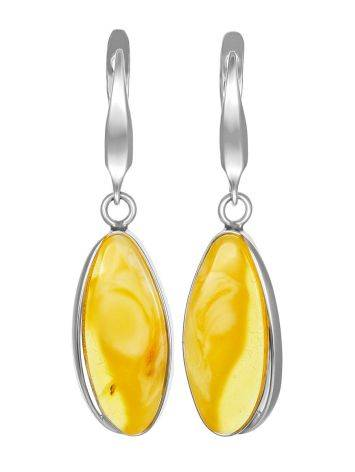 Voluminous Silver Amber Dangle Earrings The Lagoon, image